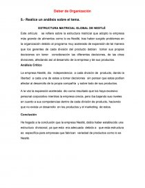 Análisis De La Lectura Estructura Matricial Global De Nestlé