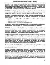 Modelo Finiquito Contrato De Trabajo Trabajos Artac