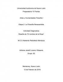 Actividad Diagnostica Etapa 2 filosofía. - Reseñas - Adriana Lozano