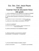 Examen final de educación física 2do grado