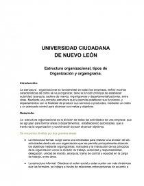 Estructura Organizacional Tipos De Organización Y