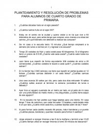 PLANTEAMIENTO Y RESOLUCIÓN DE PROBLEMAS PARA ALUMNOS DE CUARTO GRADO ...