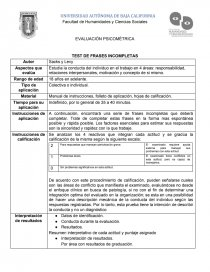 Ficha Técnica De Test De Frases Incompletas De Sacks