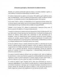 Estructura Jerárquica Y Funcional De La Auditoría Interna
