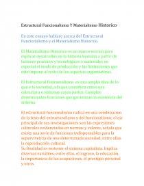 Estructural Funcionalismo Y El Materialismo Historico